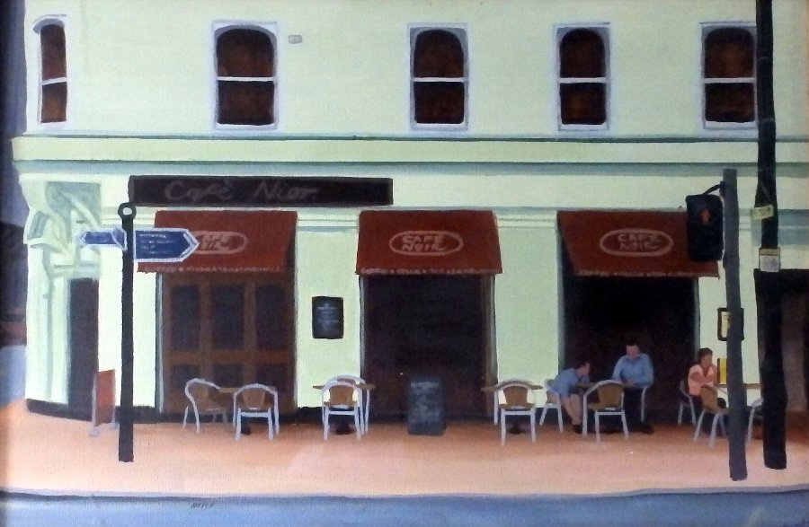 Renowned Young British Artist Joe Simpson B 1985 Oil on Canvas 'Cafe Noir'