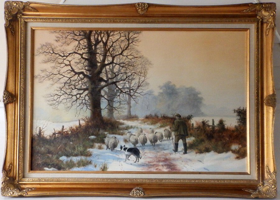 Antique Original Oil of Canvas By Renowned William (Bill) Makinson 'Taking The Flock'