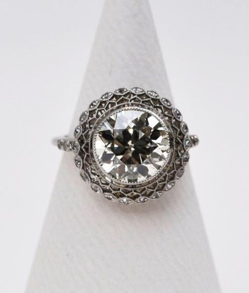 Luxury Art Deco Platinum Diamond Ring