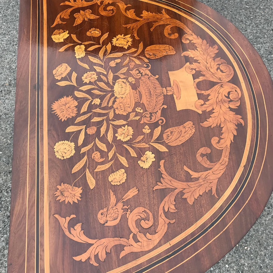 unusual marquetry tea table