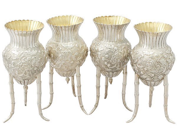 Antique Japanese Silver Vases
