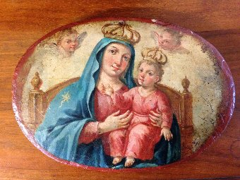 Antique icon Godmother&child hand painted on wood in oval