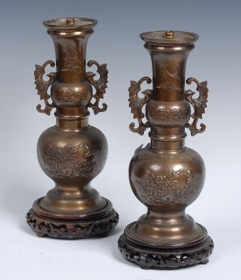 Antique A pair of Japanese bronzed vases, now fitted as lamps