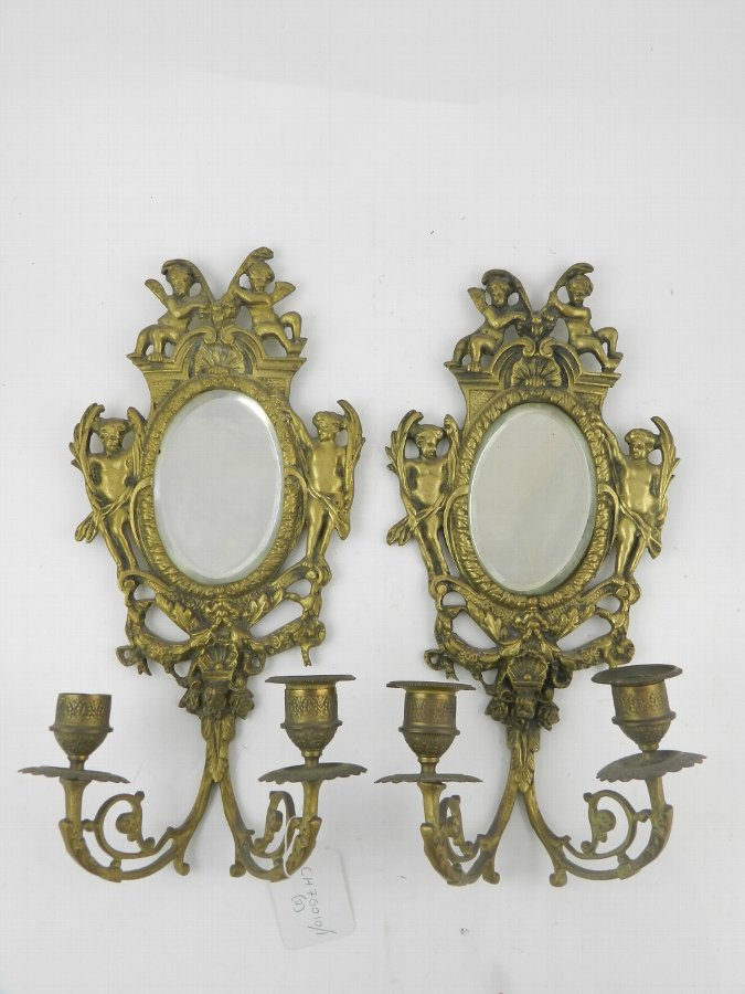 PAIR FRENCH CANDELABRA WITH CERUBS