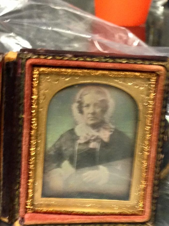 Antique  19th century locked gilt framed miniature of woman
