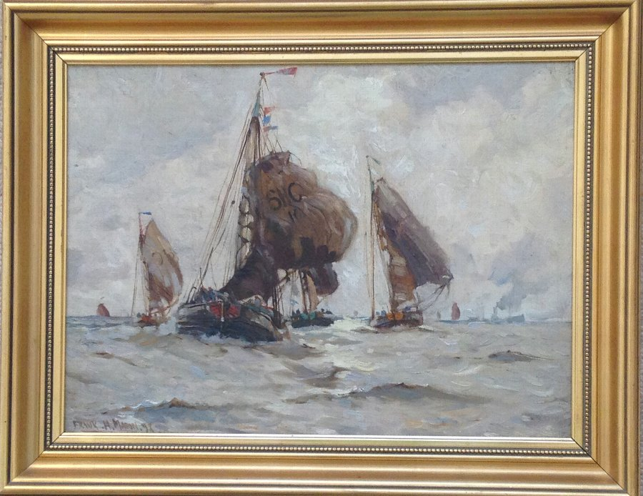 FRANK HENRY MASON (1875-1965) OIL PAINTING DUTCH HERRING BOATS FROM SCHEVENINGEN SIGNED & DATED 1...