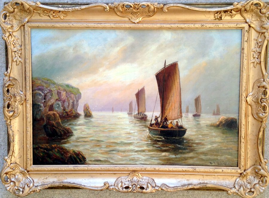 ORIGINAL VICTORIAN ANTIQUE OIL PAINTING FISHING VESSELS ON THE NORTH EAST COAST SIGNED BERNARD BENEDICT HEMY 1844-1910