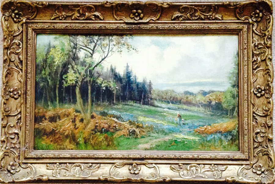 VICTORIAN ANTIQUE WOODLAND LANDSCAPE OIL PAINTING SIGNED HENRY HADFIELD CUBLEY 1858-1934
