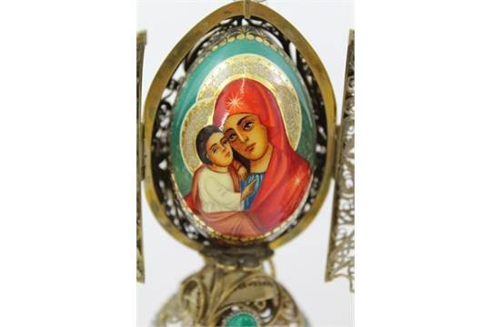 Antique Russian style egg decorated with God muther Maria and child