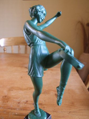 Antique French Art Deco Tambourine Dancer, Signed Fayral.