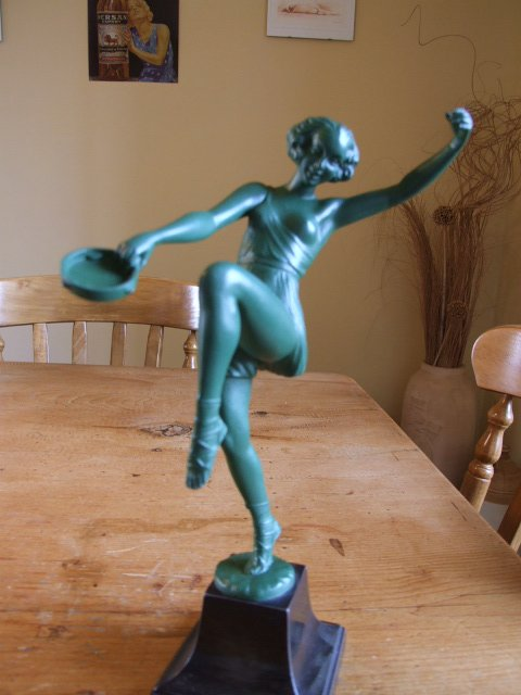 French Art Deco Tambourine Dancer, Signed Fayral.