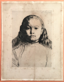 Antique Alphonse Legros (1837-1911) Framed Drypoint Etching, 'Le Petite Marie' C.1870