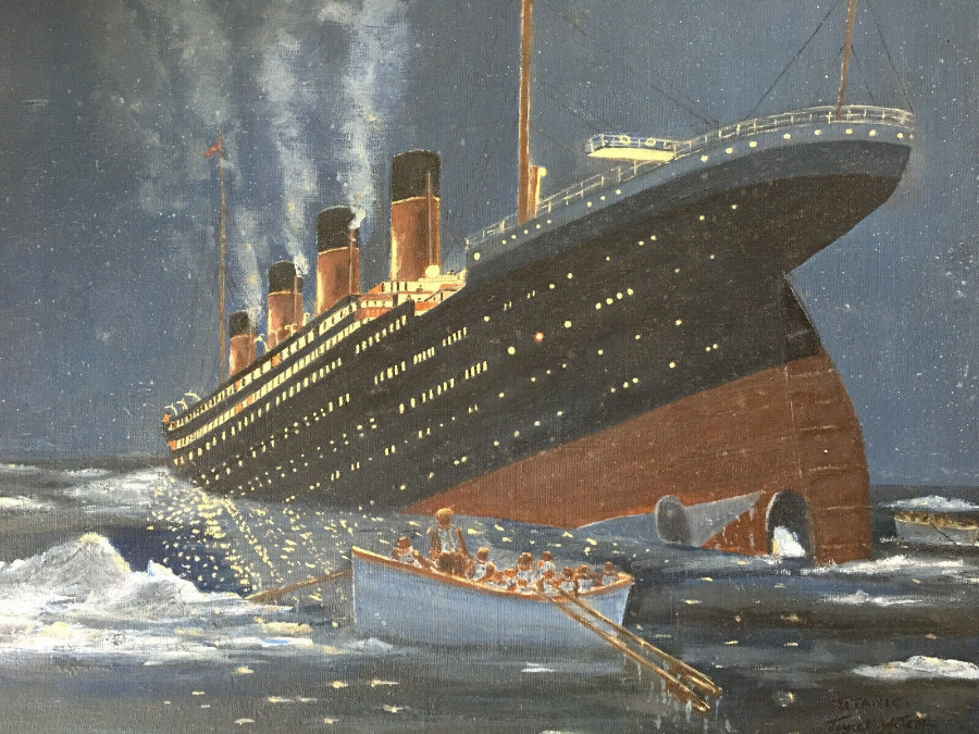 Late 20th Century Oil Painting of the Titanic Sinking