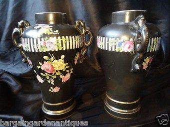 Antique Vintage French Rococo Sevres Black & Gilt Porcelain Floral Round Bulbous Vases