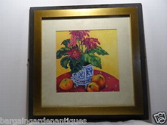 Antique Vintage Realism Print Pretty Flowers in Vase & Apples Gold Framed Signed