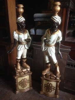 Antique Antique Victorian Pair Carved Blackamoor Entance Figures Venetian Italian Hotel