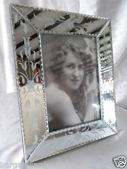 Vintage Art Deco Italian Silver Etched Floral Glass Mirrored Picture Photo Frame