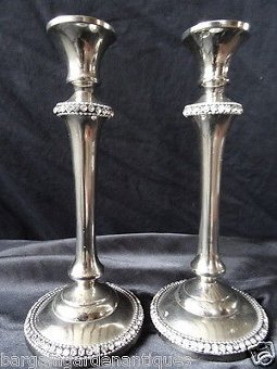 Antique Glitzy Pair Vintage French Art Deco Diamante Crystal Silver Plate Candlesticks