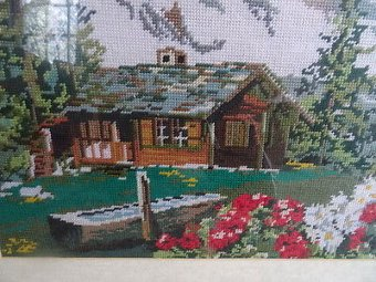 Antique Antique Framed Tapestry Wall Hanging Picture Log Cabin Mountain/Flowers Scene