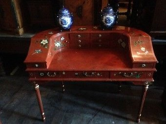 Vintage Antique Chinoiserie Carlton House Reception  Desk French Louis XVI
