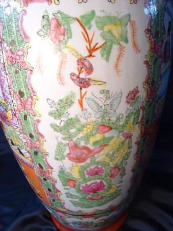Antique Antique Tall Oriental Cantonese Bulbous Temple Kangxi Porcelain Vase