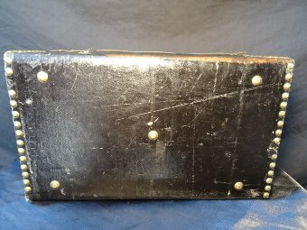 Antique Antique French 19th Century Small Black Leather Bound Ladies Boudoir Chest Box