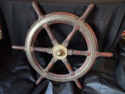 Nautical Maritime Antique Victorian Ships Wheel Brass Bound Solid Mahogany