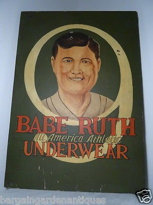 Vintage Old Baseball Babe Ruth Advertising Hand Painted Wooden Wall Hanging Sign