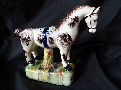 Antique Staffordshire Pottery Horse Figure Vintage Beautiful