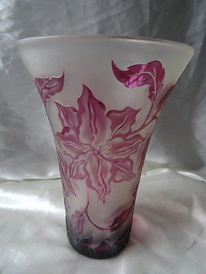Vintage Art Deco Large Fenton Round Cranberry Cut Glass Floral Vase