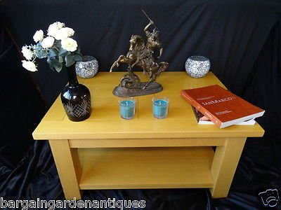 Vintage Art Deco Light Golden Maplewood Chunky Coffee Centre Table Living Room