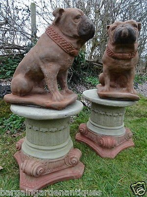 Antique 2 Vintage Matching Lifesize Hand Finished Bulldog Stone Garden Statues On Round Scroll Plinths