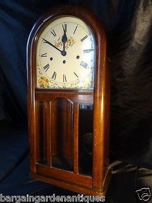 Antique Vintage Mahogany Arched Dial German Huntsman Wall Clock 8 Day Chiming