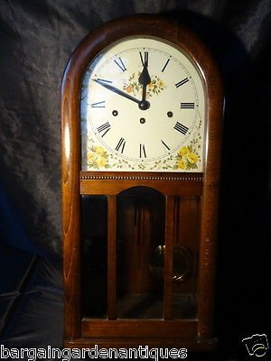 Antique Antique Vintage Mahogany Arched Dial German Huntsman Wall Clock 8 Day Chiming