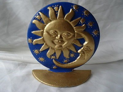 Cast Iron Pretty Gold Sun Burst With Moon Door Stopper