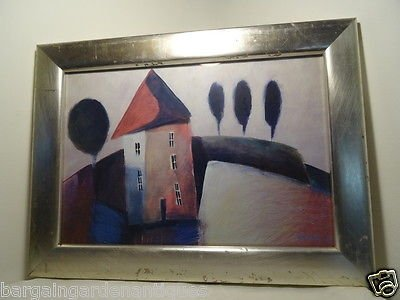 Vintage Abstract Print Of House On Hill in Silver Painted Frame Signed
