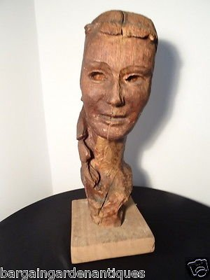Fine French Vintage Carved Wooden Womans Head Figure Model On Plinth Base Centrepiece