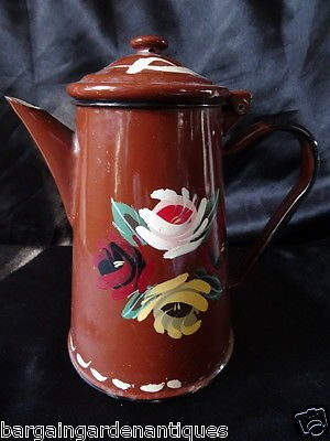Vintage Retro Tin & Enamel Hand Painted Floral Brown Coffee Pot With Lid