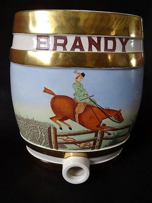 Vintage Staffordshire Pottery Brandy Barrel Hand Painted