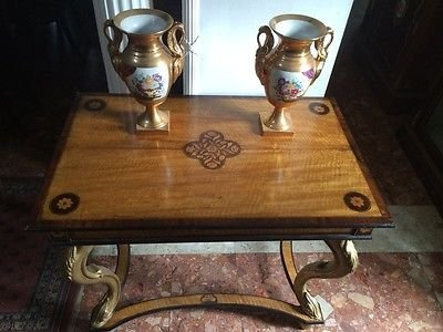 Antique French Louis XVI Marquetry Console Table Satinwood