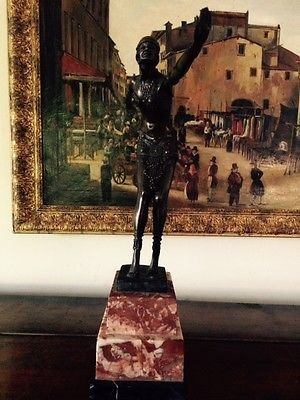 Vintage French Art Deco Signed Bronze Lady Figurine Marble Plinth Centre Piece