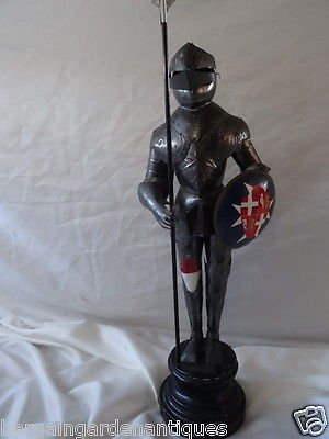 Vintage Handmade Rare Unusual Miniture Suit Of Metal Armour With Plinth Figure