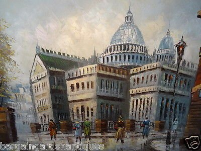 Vintage Large Impressionist Oil On Canvas Painting St Pauls Cathedral London