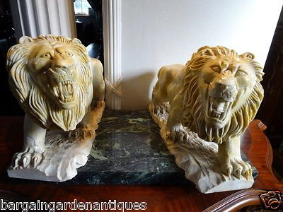 Antique Vintage Italian Solid Fine Marble Hand Sculptured Grand Lion Statues