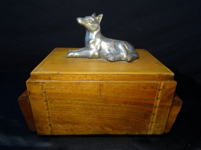 Vintage Art Deco Musical Silver Dog Cigarette Walnut & Satinwood Inlaid Box