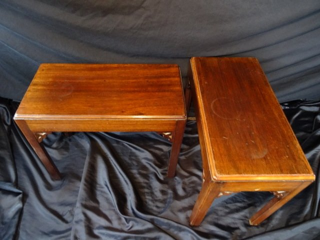 Antique Fine Museum Pair Of Small Antique Chinese Mahogany Chippendale Side Tables