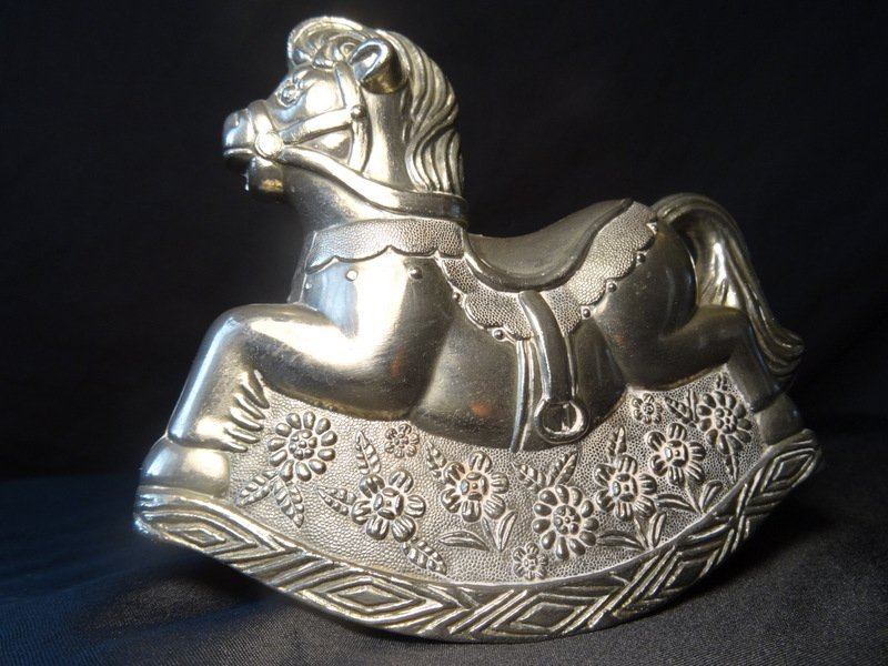 Vintage Art Deco Silver Ornate Rocking Horse Money Slot Childs Saving Coins Bank