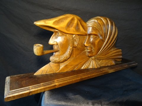 Antique French Carved Fruitwood Man With Pipe & Wife Mantle Shelf Plaque Signed