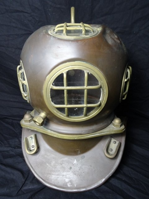 Large Antique Handmade Copper & Brass Divers Nautical Maritime Helmut