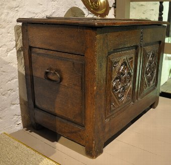 Antique  NORMAN CARVED OAK CHEST